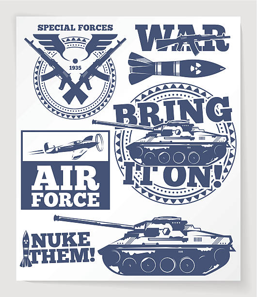 war related retro badges and labels - world war ii stock illustrations, clip art, cartoons, & icons
