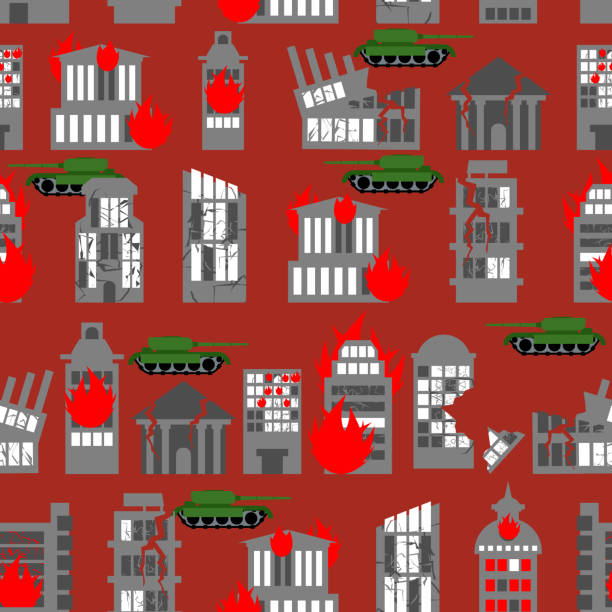 bildbanksillustrationer, clip art samt tecknat material och ikoner med war seamless pattern. ruined city. tanks in town. - derail