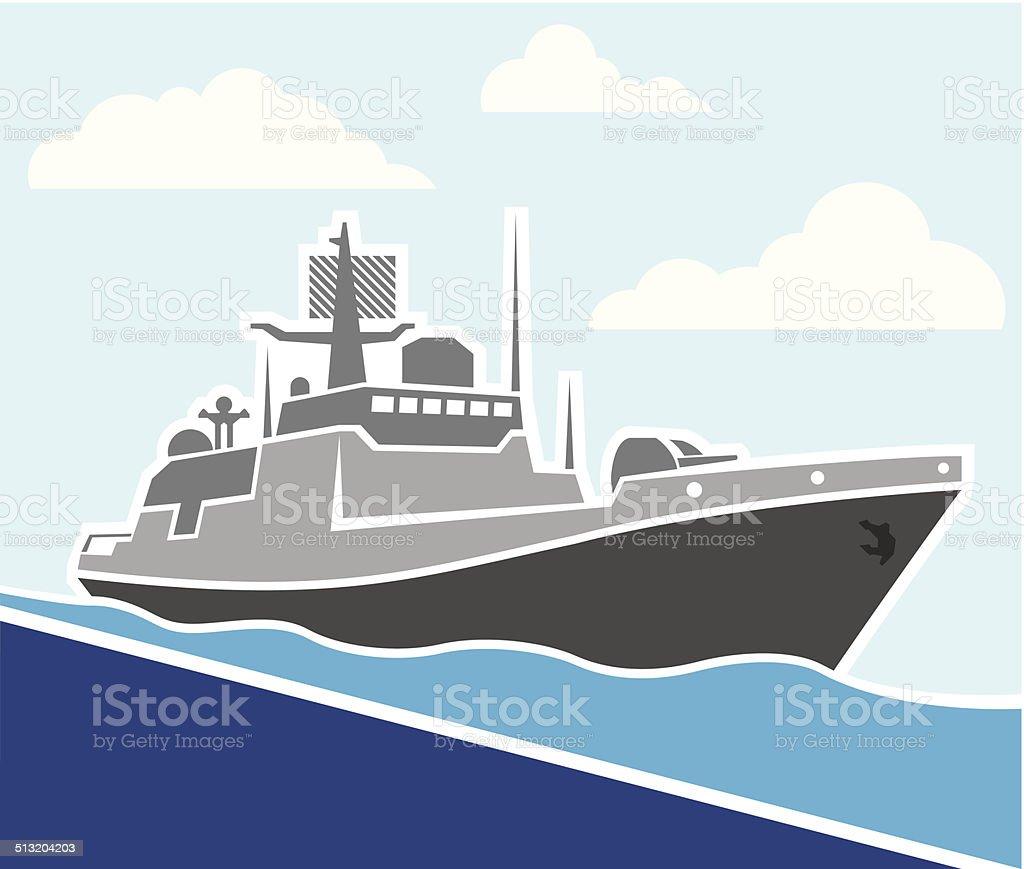 War ship vector art illustration
