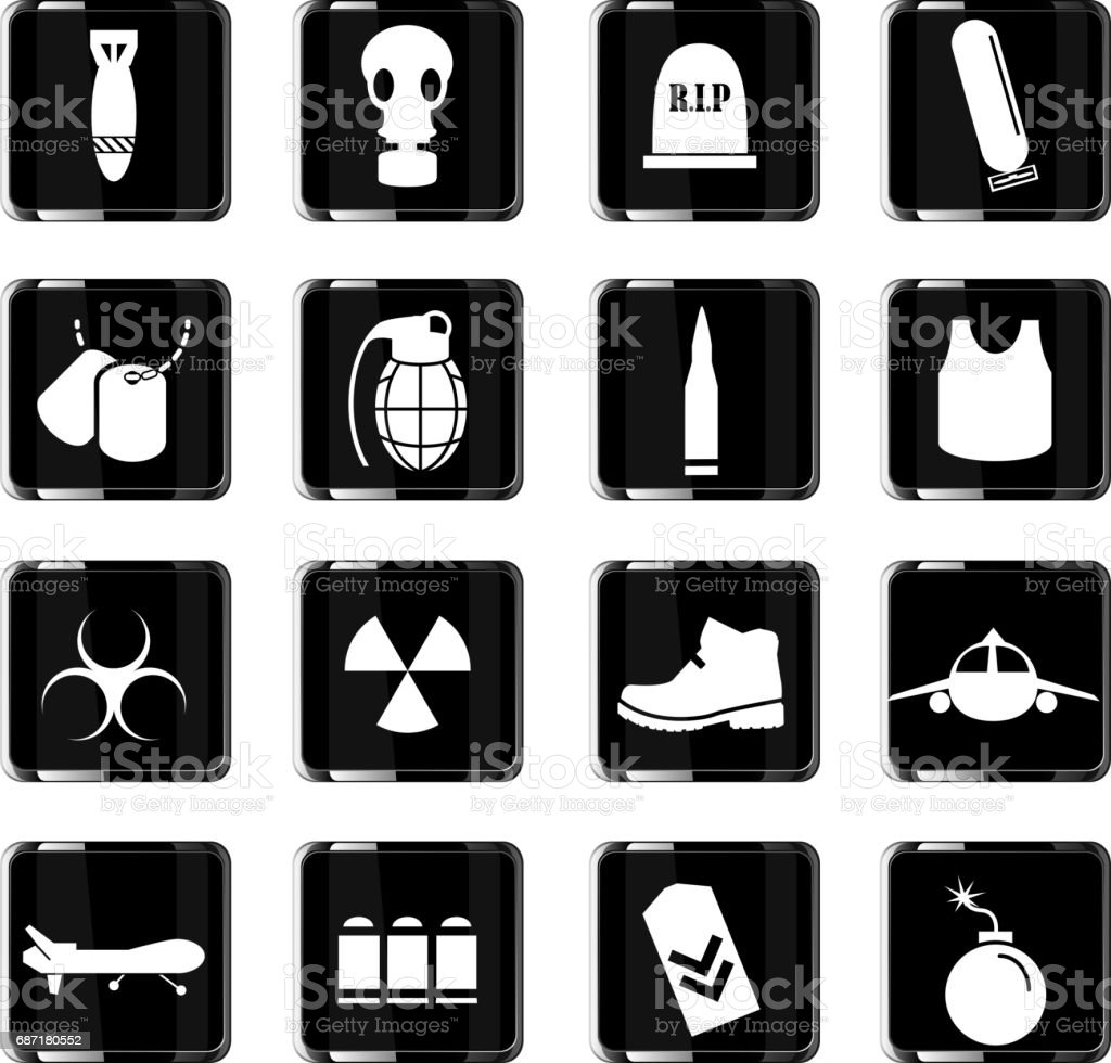 War Symbols Icon Set Stock Vector Art More Images Of Atomic Bomb