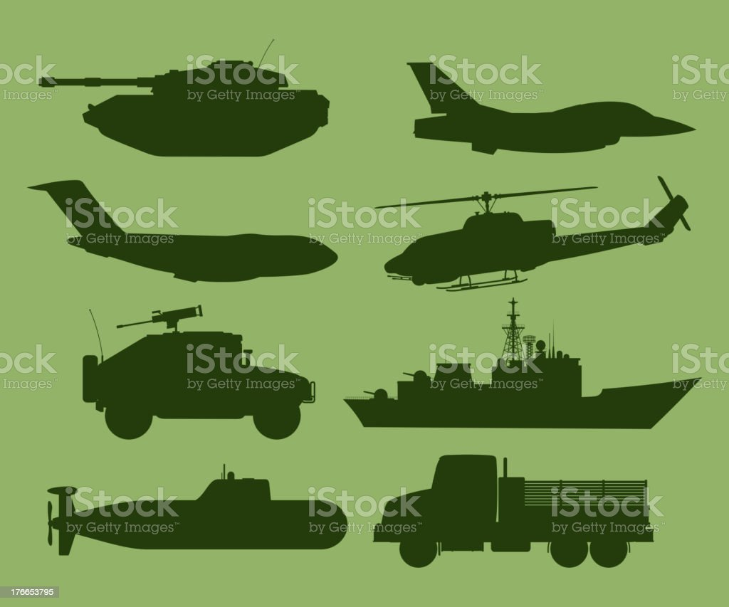 War Vehicles Silhouette royalty-free stock vector art