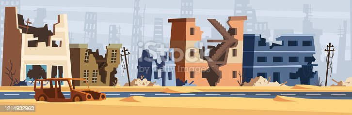 istock War zone. Damaged city destroy environment broken buildings and road destruction collapsed world vector cartoon background 1214932963