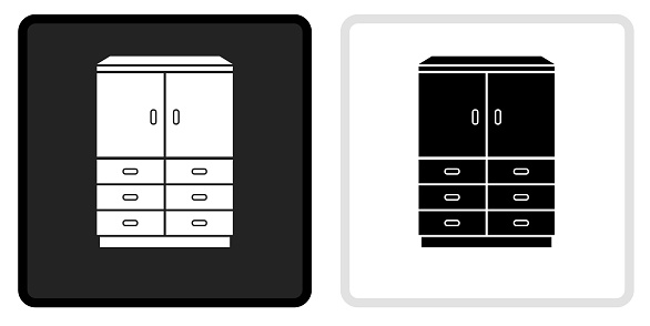 Wardrobe Cabinet Icon on  Black Button with White Rollover