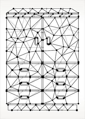 Wardrobe  Cabinet Triangle Node Black and White Pattern