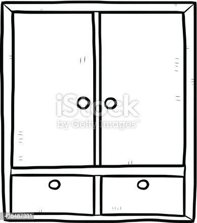 Wardrobe Cartoon Outline Stock Vector Art More Images Of Black And White 475487331