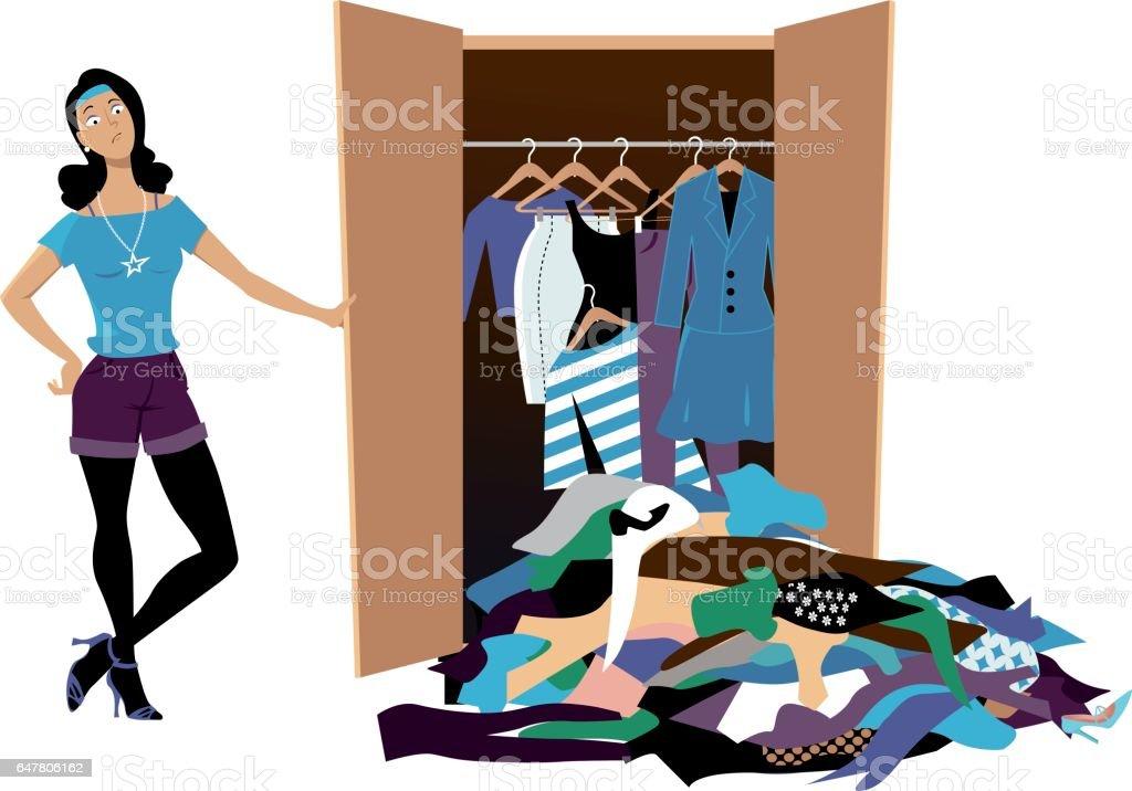 Wardrobe disaster vector art illustration