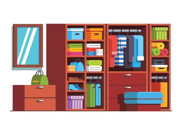 kleiderschrank garderobe mit großer holzschrank - kastenständer stock-grafiken, -clipart, -cartoons und -symbole