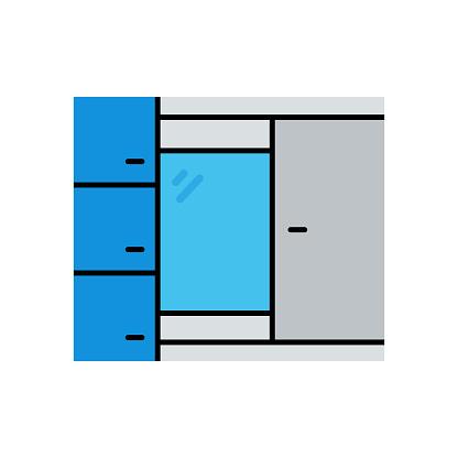 Wardrobe Flat Icon. Flat Design Vector Illustration