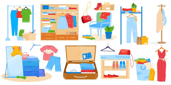 Wardrobe for clothes vector illustration, cartoon flat room furniture set, opened cupboard closet with woman man clothing isolated on white