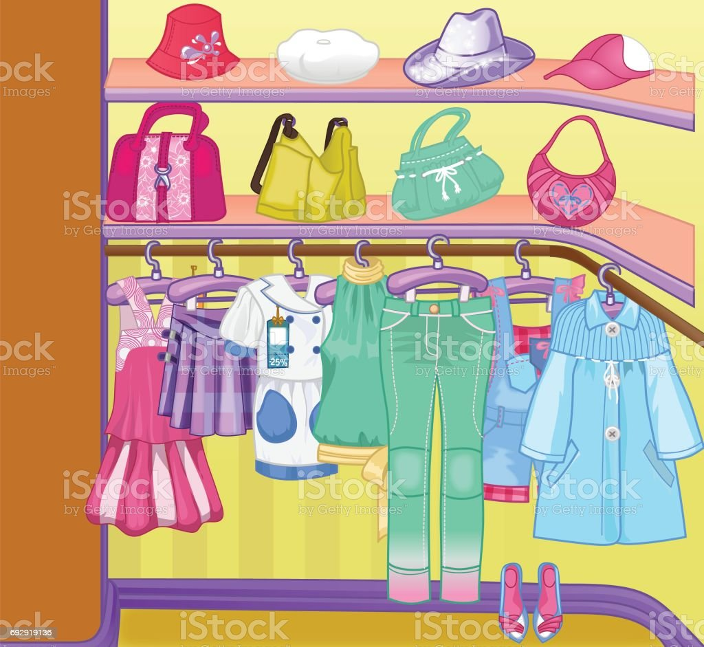 Wardrobe For Cloths Closet With Clothes Bags Boxes And Shoes Shopping Time