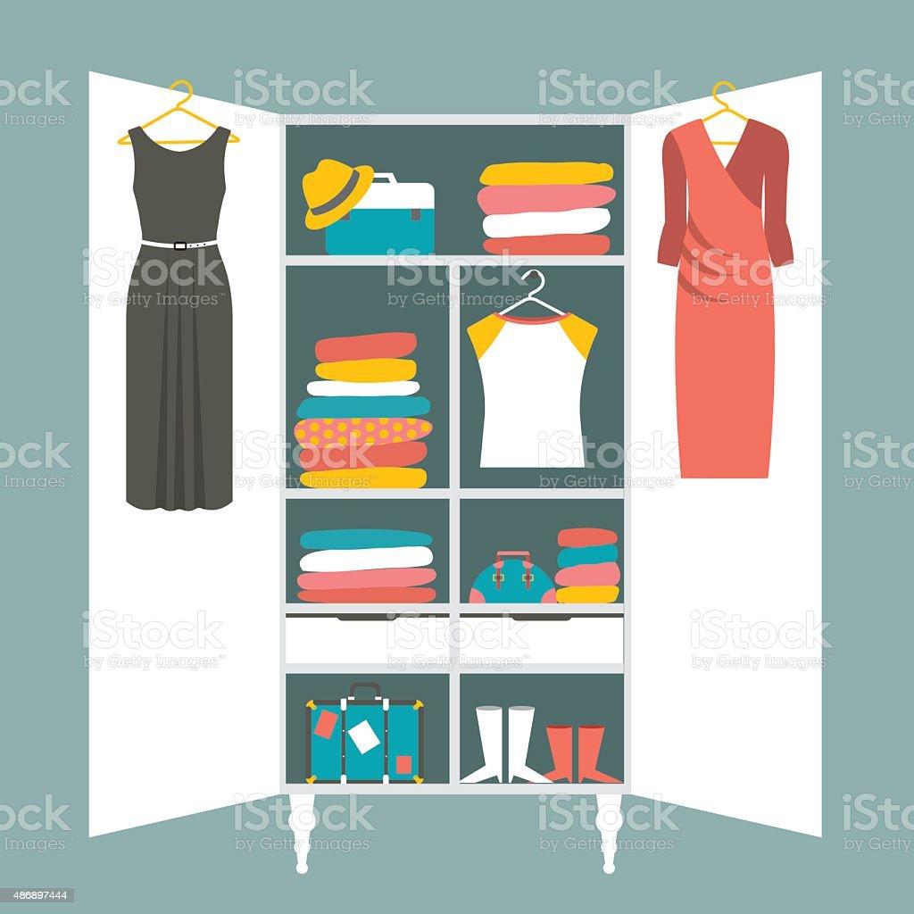 Wardrobe Indoor. Flat Design Vector Illustration. Royalty Free Wardrobe  Indoor Flat Design Vector