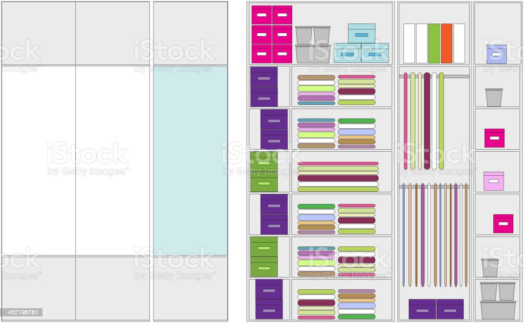 Wardrobe inside, illustration for your design royalty-free stock vector art