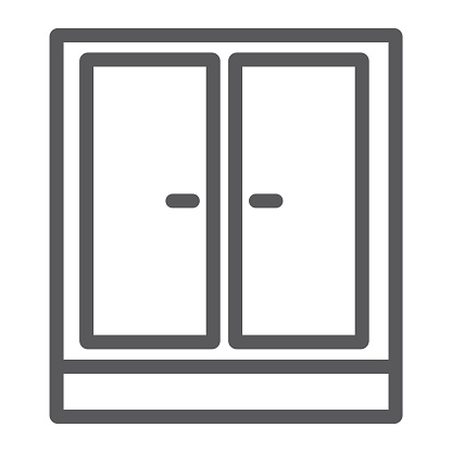 Wardrobe line icon, furniture and home, cupboard sign, vector graphics, a linear pattern on a white background.