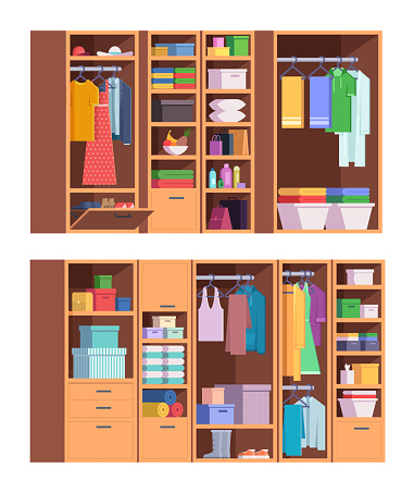 Wardrobe. Open and closed doors of home storage for clothes interior organized wardrobe vector set