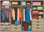 Wardrobe room full of woman's cloths. Flat style.