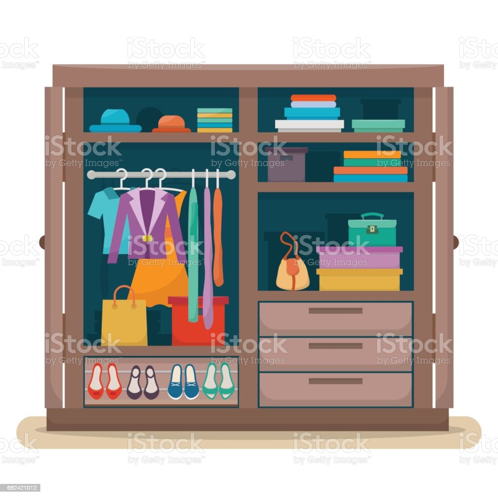 wardrobe with clothes royalty-free wardrobe with clothes stock vector art & more images of arts culture and entertainment