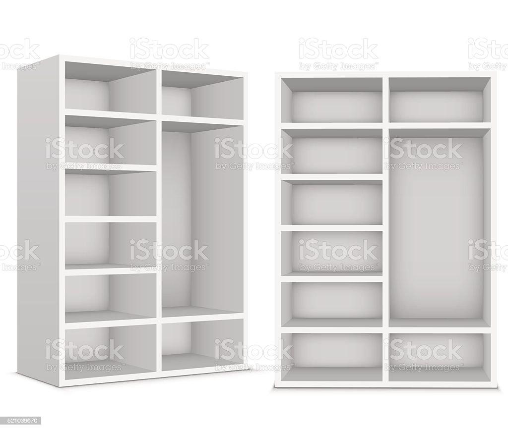 Garderoby Z Puste Półki Na Białe Tło Stockowe Grafiki