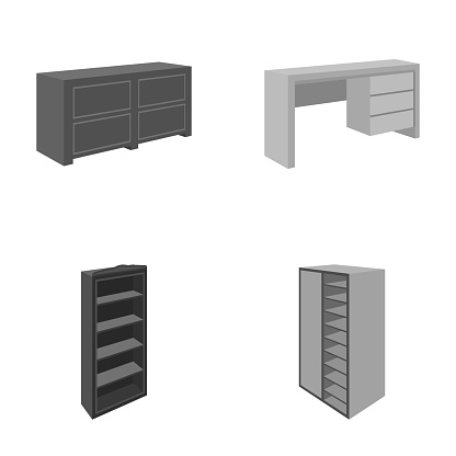 Wardrobe with mirror, wardrobe, shelving with mezzanines. Bedroom furniture set collection icons in monocrome style vector symbol stock illustration web.