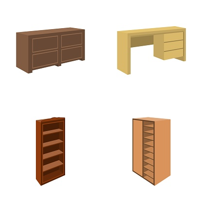 Wardrobe with mirror, wardrobe, shelving with mezzanines. Bedroom furniture set collection icons in cartoon style vector symbol stock illustration web.