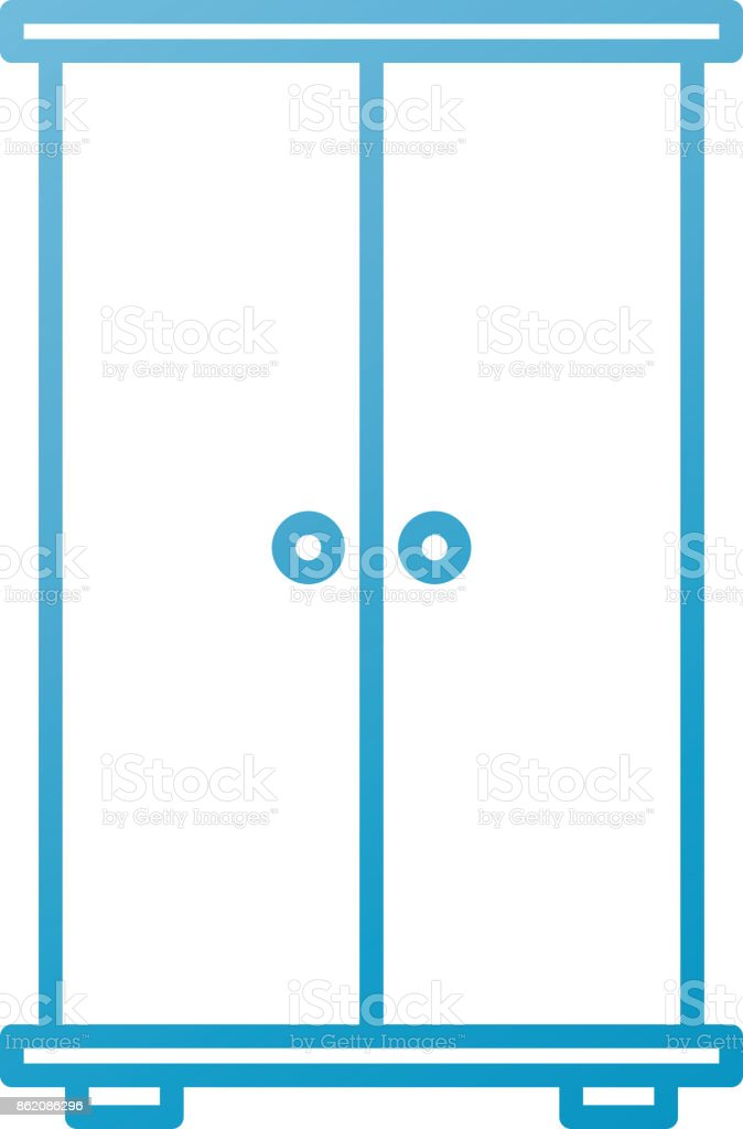 Armario De Puertas De Muebles De Madera Para Ropa - Arte vectorial ...