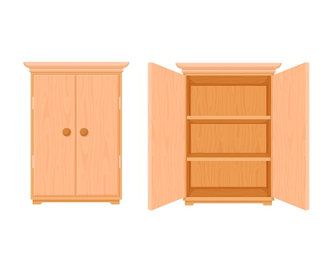 Wardrobe wooden template open and closed. Modern wooden stylish cupboard stylish design.
