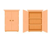 istock Wardrobe wooden template open and closed. Modern wooden stylish cupboard stylish design. 1256737120
