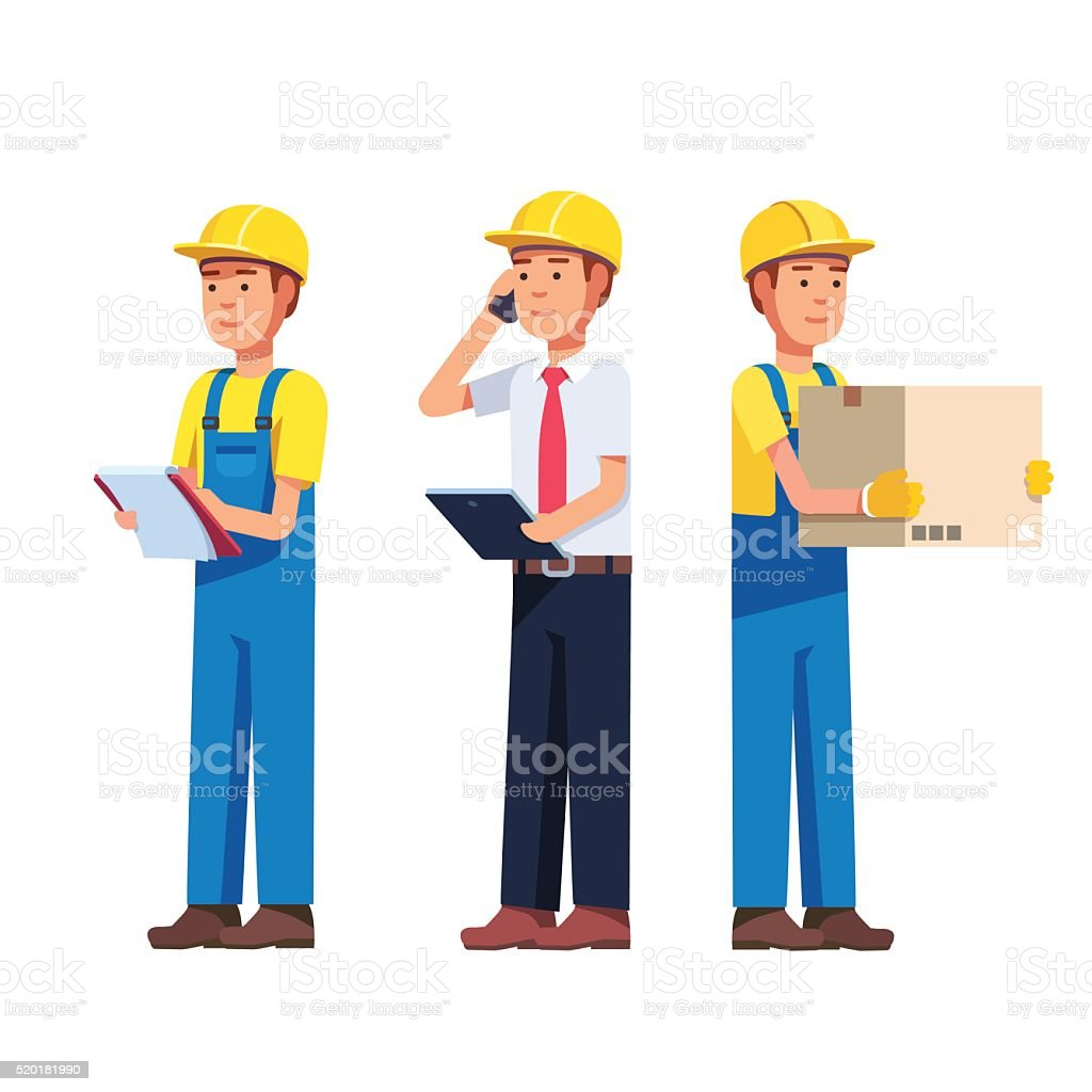 Warehouse and delivery or building worker vector art illustration