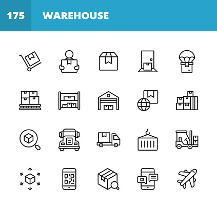 Warehouse and Distribution Line Icons. Editable Stroke. Pixel Perfect. For Mobile and Web. Contains such icons as Package, Delivery, Box, Shipment, Assembly Line, Inventory, Garage, Forklift, Barcode, Plane, Logistics, Distribution Center, Truck.