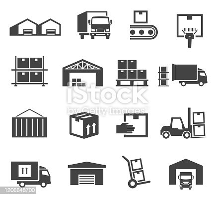 Warehouse and storage industry icon business set. Factory storehouse, delivery and package, truck loading. Vector illustration