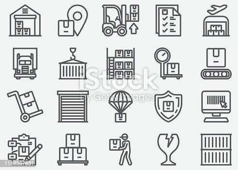 Warehouse and Storage Line Icons