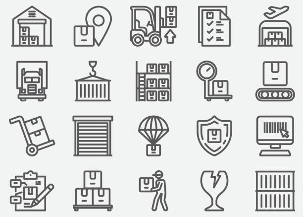 warehouse and storage line icons - warehouse stock illustrations