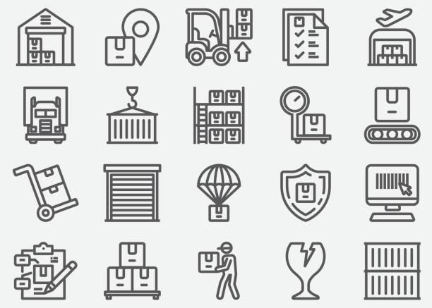 stockillustraties, clipart, cartoons en iconen met pictogrammen voor magazijn-en opslag lijnen - opslagruimte