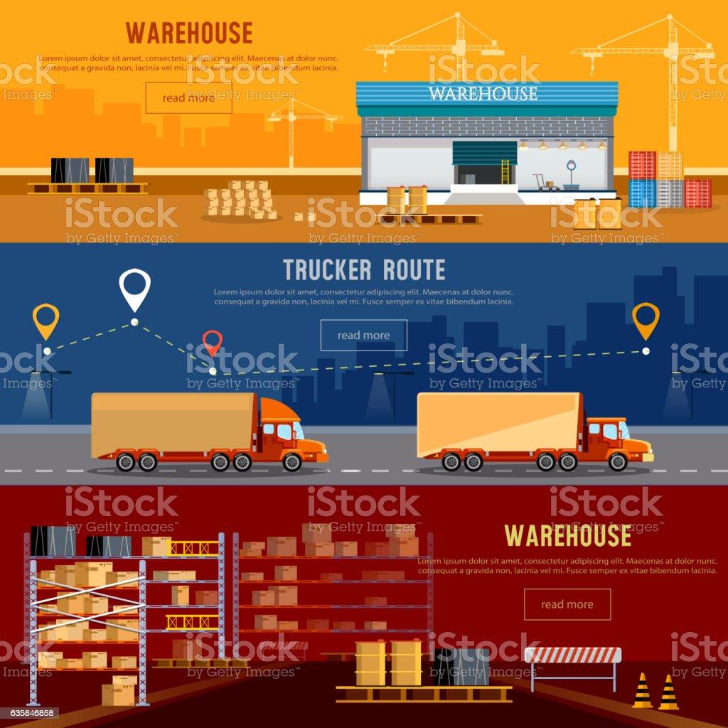 Warehouse banner, cargo transportation, warehouse interior - ilustración de arte vectorial