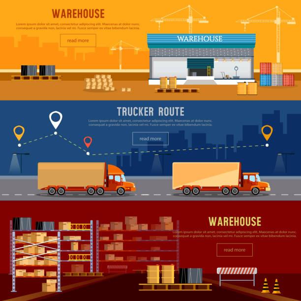 ilustraciones, imágenes clip art, dibujos animados e iconos de stock de warehouse banner, cargo transportation, warehouse interior - conductor de autobús
