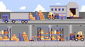 Warehouse banner set - interior and exterior of industrial storage facility with truck, forklift and shelves with cardboard box cargo, loading equipment and building - flat cartoon vector illustration