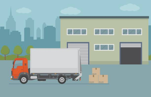 warehouse building and truck on city background. - delivery van stock illustrations, clip art, cartoons, & icons