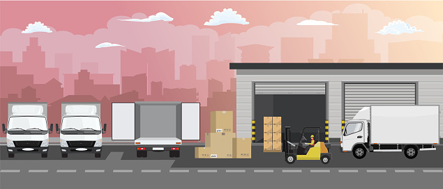 Warehouse building facade, truck and Forklift truck on cityscape background. Vector illustration.