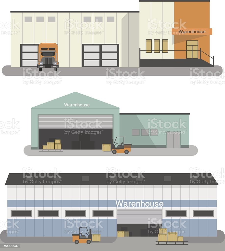 Warehouse building flat icons set with transportation vehicles isolated illustration vector art illustration