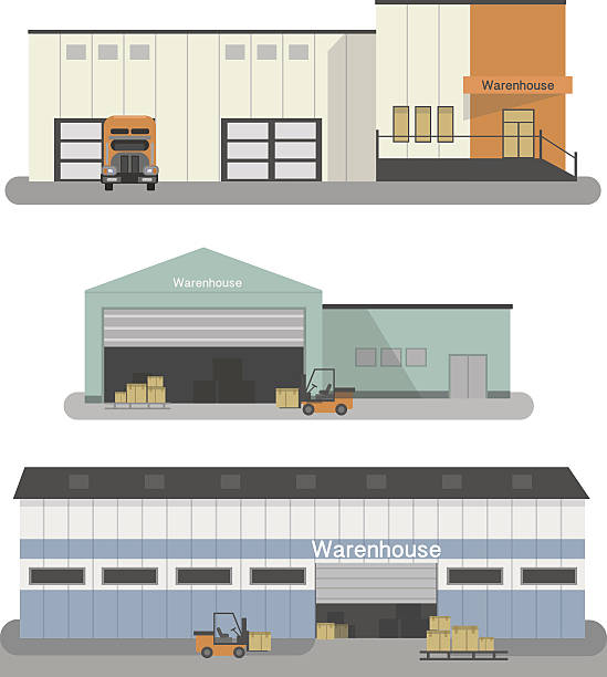 stockillustraties, clipart, cartoons en iconen met warehouse building flat icons set with transportation vehicles isolated illustration - warehouse