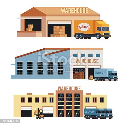 istock Warehouse building, industrial construction and factory storage vector icons 854053270
