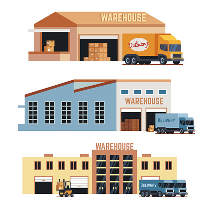 Warehouse building, industrial construction and factory storage vector icons