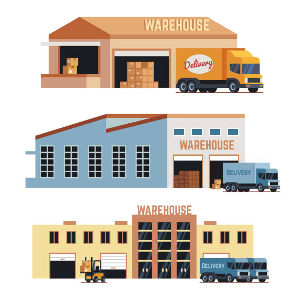 warehouse building, industrial construction and factory storage vector icons - warehouse stock illustrations