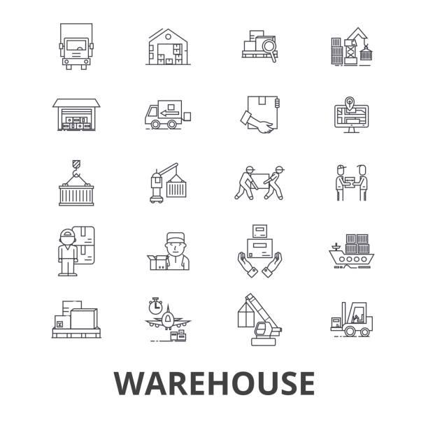 stockillustraties, clipart, cartoons en iconen met magazijn gebouw, logistiek, levering, opslag, heftruck, industrie, lijn pictogrammen op te slaan. bewerkbare lijnen. platte vector illustratie symbool ontwerpconcept. lineaire geïsoleerde borden - pallet