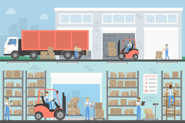 warehouse building set. - warehouse stock illustrations
