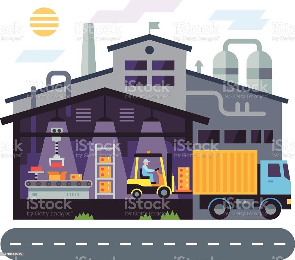 cartoon of a warehouse building clip art, vector images
