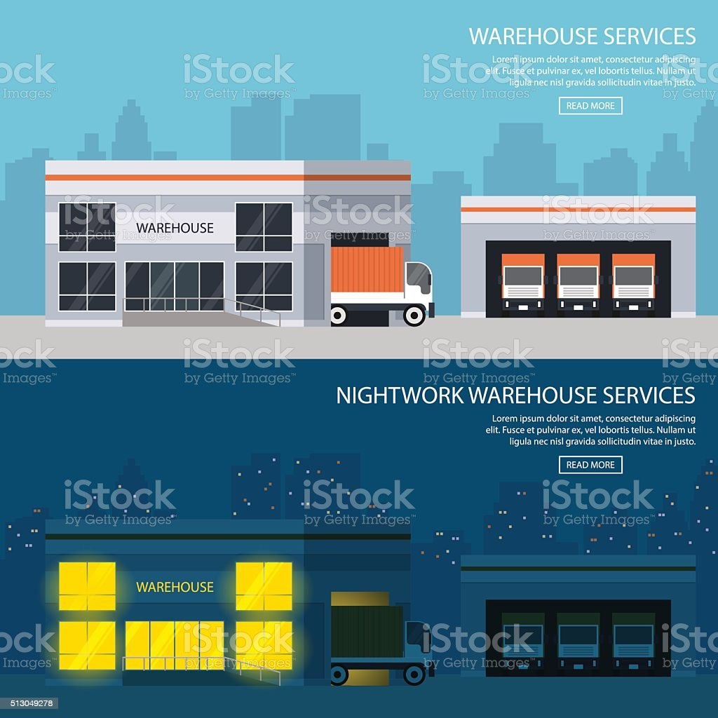 warehouse buildings with shipment of goods. day and night option vector art illustration