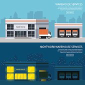 warehouse buildings with shipment of goods. day and night option