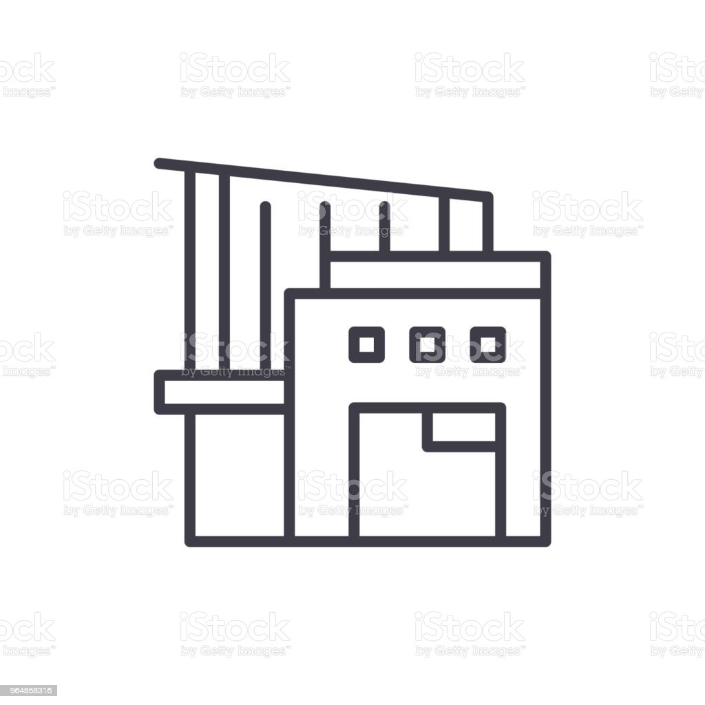 Warehouse complex black icon concept. Warehouse complex flat  vector symbol, sign, illustration. royalty-free warehouse complex black icon concept warehouse complex flat vector symbol sign illustration stock vector art & more images of agriculture