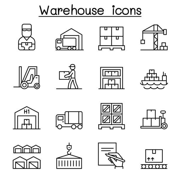 i̇nce çizgi tarzında ambar, teslimat, sevkiyat, lojistik simge seti - warehouse stock illustrations