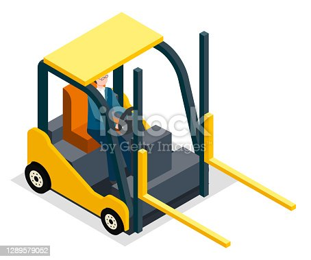 Man driving and controling the forklift vector illustration. Warehouse equipment loader, cargo delivery storage service industrial yellow forklift truck and worker driver isolated on white background